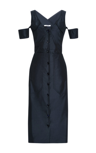 Medium carven navy satin twill button up dress