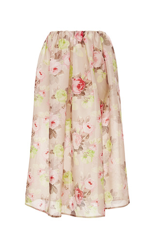 Medium carven yellow floral print woven silk midi skirt 2