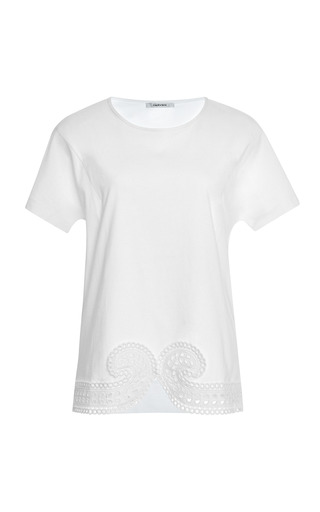 Medium carven white lace embroidered cotton t shirt