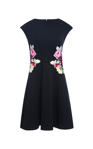 Medium carven navy floral appliqued jersey dress