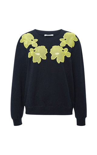 Medium carven navy mesh appliqued sweatshirt