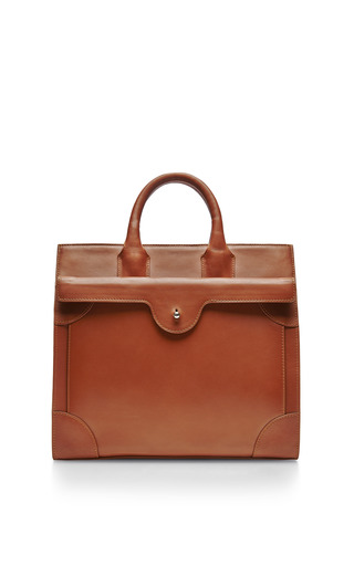 Medium carven brown leather tote bag