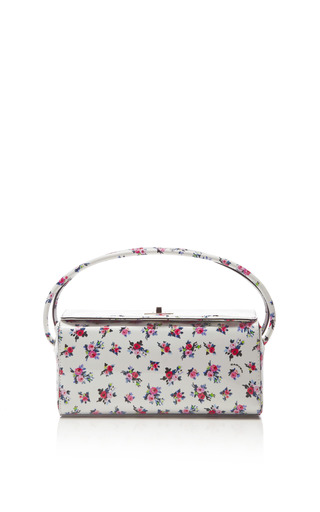 Medium carven white floral printed patent leather bag