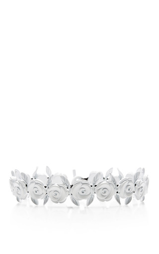 Medium carven white metal rose chain necklace