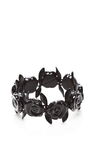 Medium carven black metal rose chain bracelet