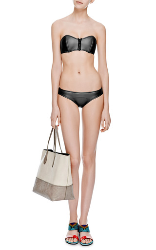 Lauren Rubber Neoprene Bandeau Bikini by LISA MARIE FERNANDEZ Now Available on Moda Operandi