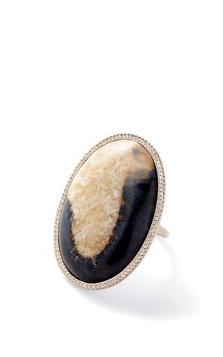 Flawless Black Fossilized Walrus Ivory And White Diamond Oval Cabochon Ring by MONIQUE PéAN for Preorder on Moda Operandi