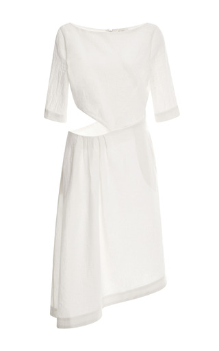 Medium isa arfen white crinkled linen cut out dress