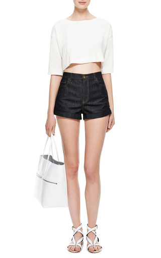 Crinkled Linen Cropped Top by ISA ARFEN Now Available on Moda Operandi