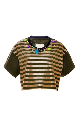 Igorot Cropped Embellished Striped Top by BETINA Now Available on Moda Operandi