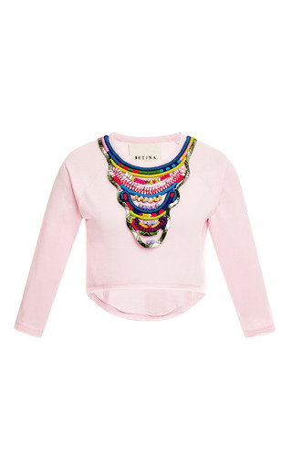 Medium betina pink mo exclusive igorot cropped embellished sweatshirt