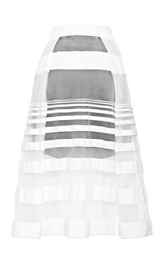 Medium tibi white striped jacquard gauze skirt