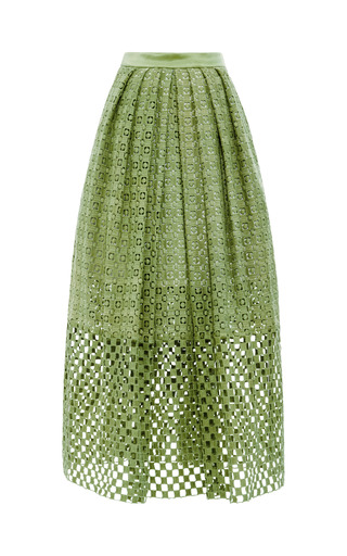 Medium tibi green sonoran cotton eyelet skirt