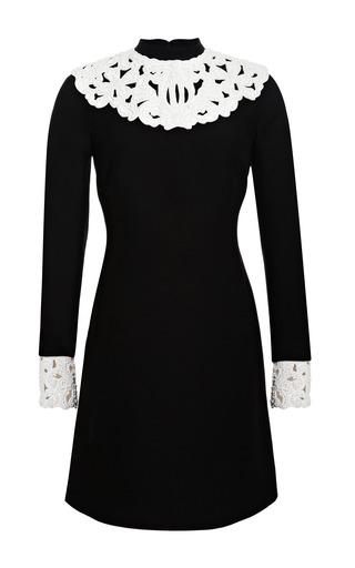 Medium valentino black embellished leather trimmed wool blend dress 2