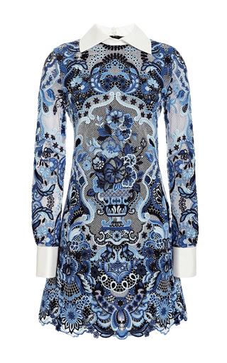 Medium valentino blue guipure lace a line mini dress