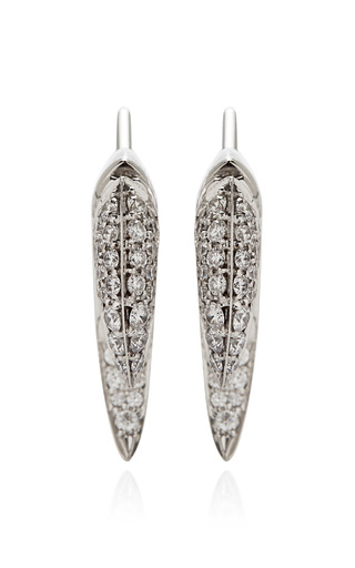 Medium shaun leane silver 18k white gold and diamond talon earrings