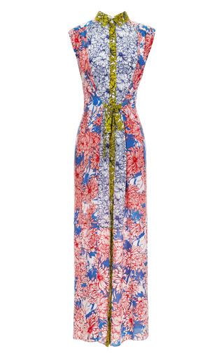Medium megan park floral megan park billie patched full length crepe dress