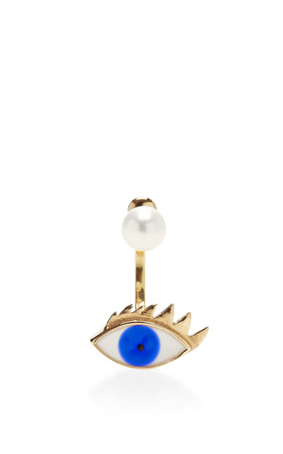 9 K Gold, Pearl, And Enamel Single Earring by DELFINA DELETTREZ Now Available on Moda Operandi