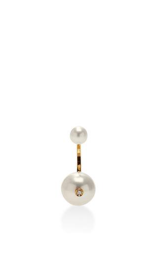 Double Pearl Single Earring by DELFINA DELETTREZ Now Available on Moda Operandi