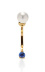 Never Too Light 18 K Gold, Sapphire, And Pearl Single Earring by DELFINA DELETTREZ Now Available on Moda Operandi