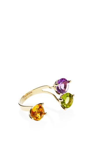 9 K Gold And Triple Stone Ring by DELFINA DELETTREZ Now Available on Moda Operandi