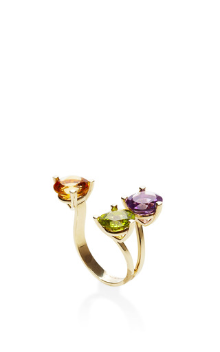 9 K Gold And Triple Stone Ring by DELFINA DELETTREZ Now Available on Moda Operandi