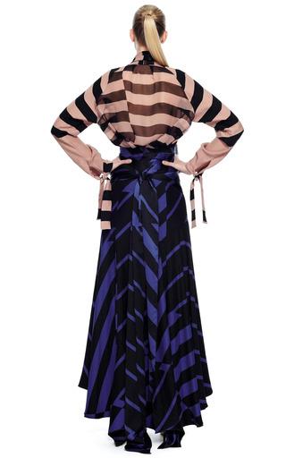 Juan Carlos Obando Hammered Silk Stripe Blouse With Chiffon Back by JUAN CARLOS OBANDO for Preorder on Moda Operandi