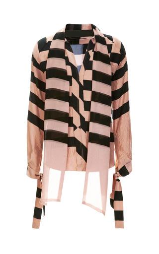 Medium juan carlos obando pink juan carlos obando hammered silk stripe blouse with chiffon back