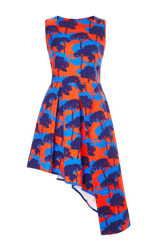 Medium osman orange osman sleeveless asymmetric drape dress