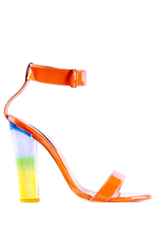 Medium charkviani yellow charkviani sonia heel in clear blue yellow gradient