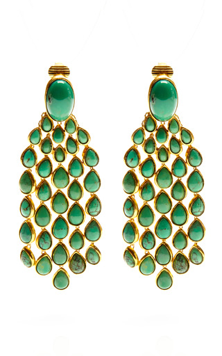 Medium aurelie bidermann green wild west cherokee earrings with turquoise stones