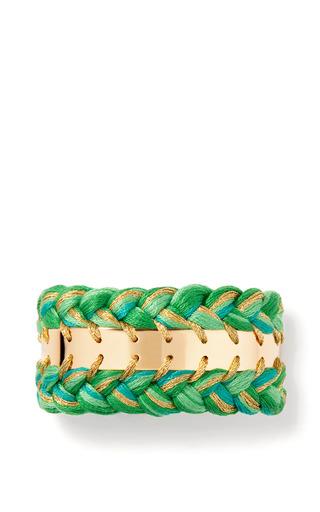 Medium aurelie bidermann green copacabana double braided cuff