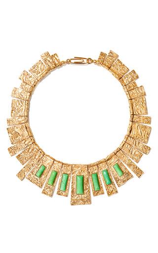 Medium aurelie bidermann gold marcello necklace with turquoise stones
