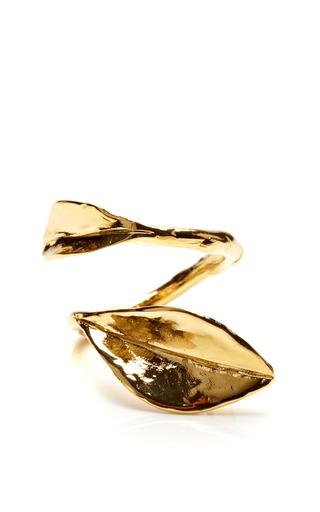 Medium aurelie bidermann gold monteroso gold leaf ring