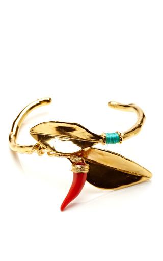 Medium aurelie bidermann gold monteroso bangle with turquoise stones and coral bakelite pimento