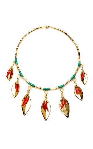 Medium aurelie bidermann gold monteroso necklace with turquoise stones