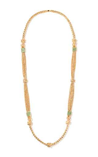 Medium aurelie bidermann gold palazzo long necklace with turquoise pearls