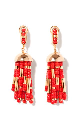 Medium aurelie bidermann gold positano tassel earring with coral resin