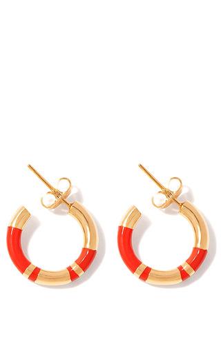 Medium aurelie bidermann gold positano hoop earring with coral resin