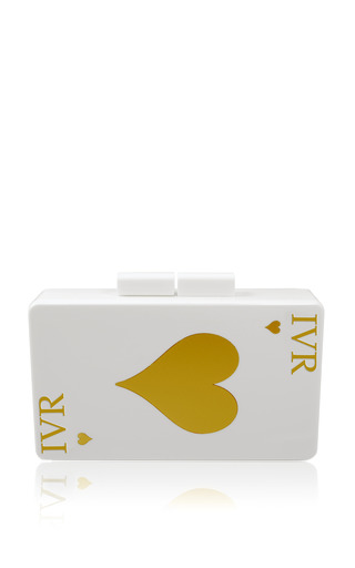 Medium urania gazelli multi monogram customizable double sided queen of hearts and ace of hearts gold clutch