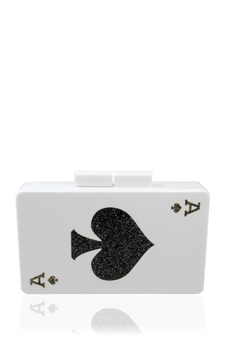 Medium urania gazelli multi double sided queen of spades and ace of spades clutch