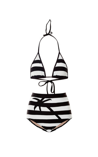 Medium adriana degreas black mo exclusive striped high waisted bikini