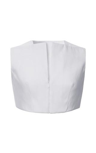 Medium azede jean pierre white silk faille crop top