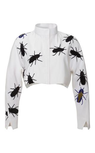 Medium azede jean pierre white silk faille swarm crop jacket