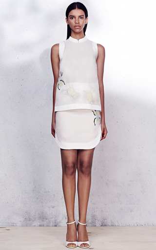 Satin Faced Organza Embroidered Skirt by AZEDE JEAN-PIERRE for Preorder on Moda Operandi