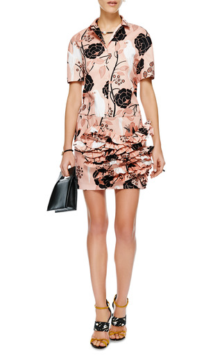 Aida Embellished Ruffled Satin Dress by NO. 21 Now Available on Moda Operandi