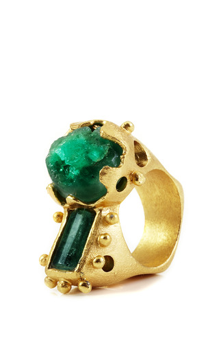 Medium paula mendoza gold silvia raw emeralds ring