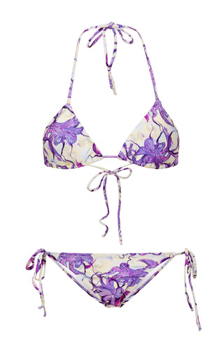 Medium isolda purple printed triangle bikini