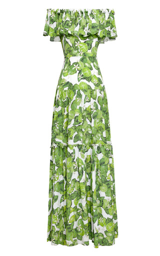 Medium isolda lime green printed silk chiffon dress