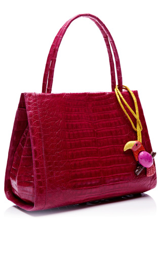 Pink Crocodile Handbag With Pink Parrot Charm by NANCY GONZALEZ for Preorder on Moda Operandi